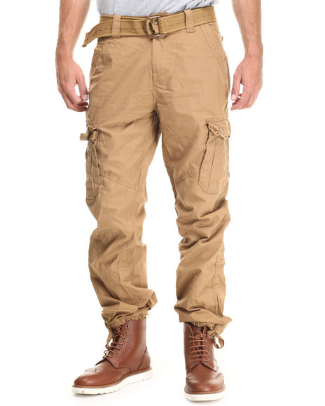 Buyers Picks - Men Wheat Military - Style Canvas Cargo Pants