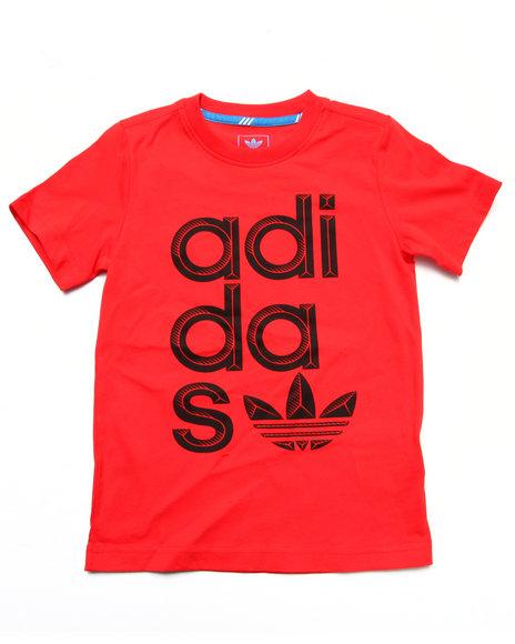 Adidas - Boys Red Wrap Logo Tee (8-20)