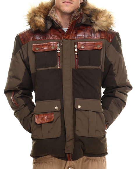 Pelle Pelle - Men Brown,Olive Summit Faux Fur Hoody Jacket (Patch Detail)
