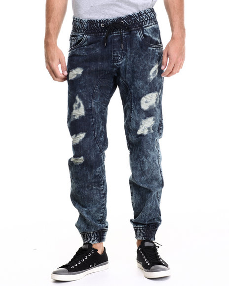 Buyers Picks - Men Dark Wash Rip And Repair Denim Joggers