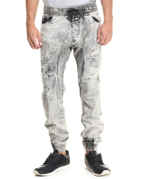 Buyers Picks - Men Light Grey Rip And Repair Denim Joggers