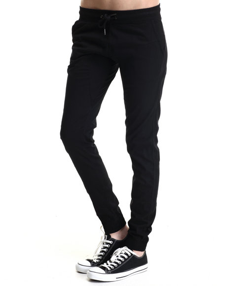 Soho Babe - Women Black Semi-Drop Crotch Twill Jogger