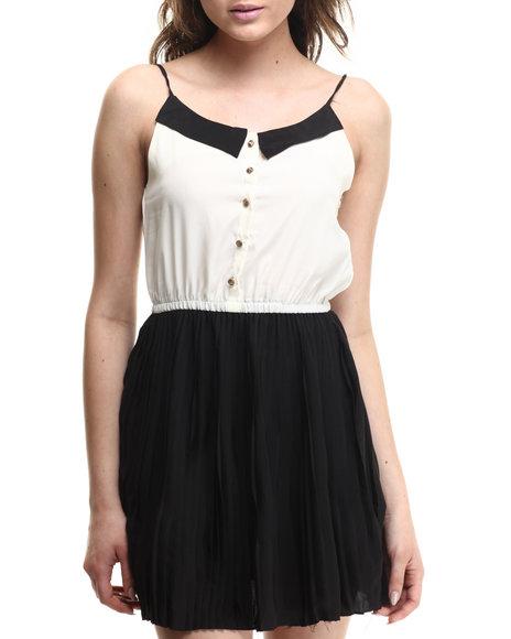 Ali & Kris - Women Off White,Black Sweatheart Chiffon Dress - $30.00