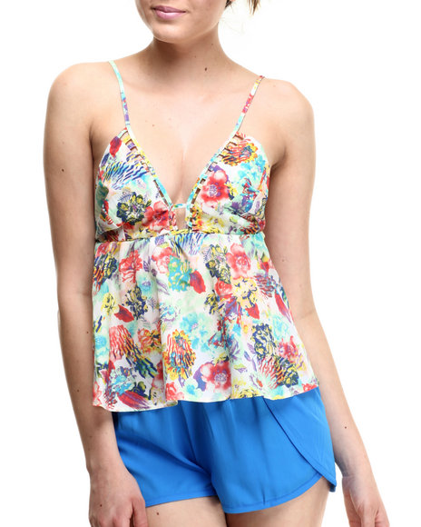 Ali & Kris - Women Multi Silky Butterfly Tank Top - $20.00