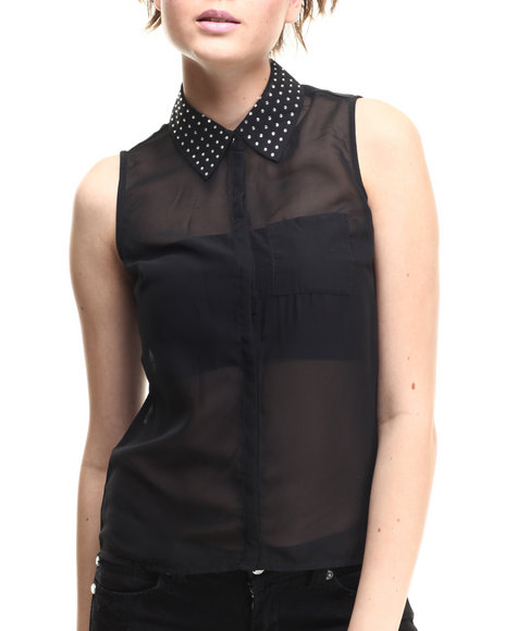 Ali & Kris - Women Black Chiffon Button-Up W/Bling Collar - $5.99