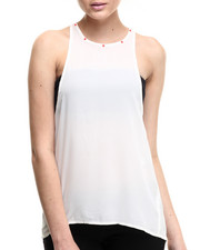 Women - Key Hole Back Studded Trim Tank Top