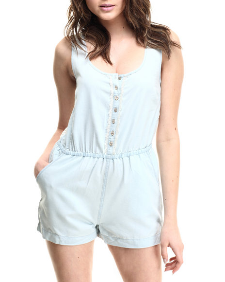 Ali & Kris - Women Light Wash Acid Wash Romper - $30.00