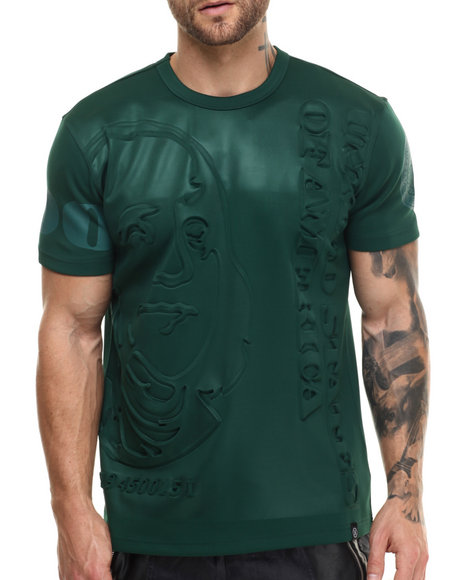 Ur-ID 223006 Hudson NYC - Men Green Stacked Ben Double - Knit Embossed S/S Tee