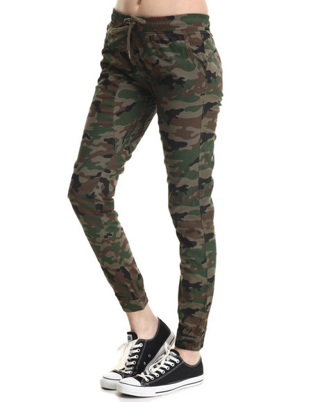 Soho Babe - Women Camo Semi-Drop Crotch Twill Jogger