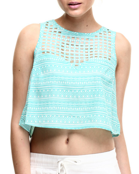 Ali & Kris - Women Teal Open-Back Geo Print Tank Top
