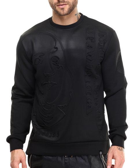 Hudson Nyc - Men Black Stacked Ben Bonded Knit Embossed Crewneck Sweatshirt