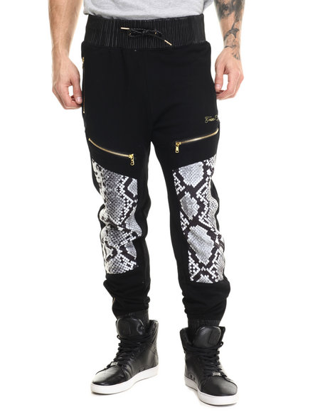 Frost Originals - Men Black Snake King Print Jogger Pants