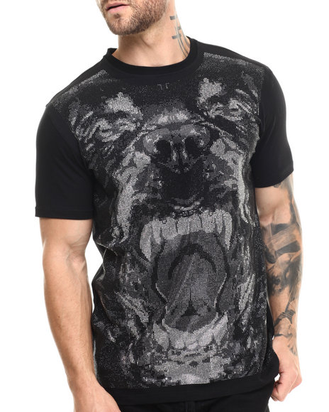Hudson Nyc - Men Black,Silver Beware Of Dog Crystal - Print S/S Tee
