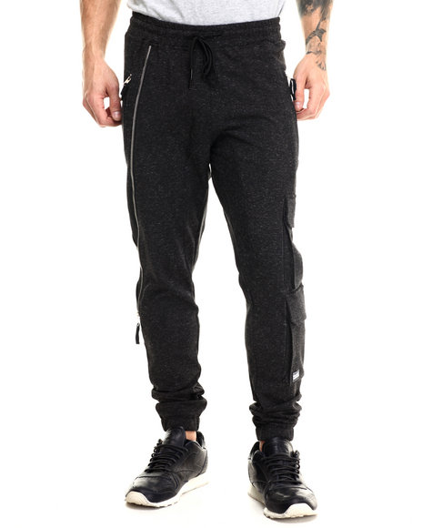 Hudson Nyc - Men Black Tactical Double - Cargo French - Terry Jogger Pants