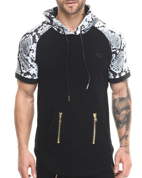 Frost Originals - Men Black Snake King Print S/S Pullover S/S Hoody Tee