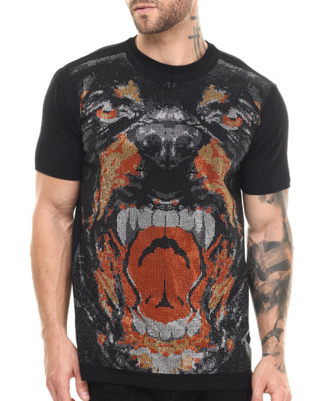 Hudson Nyc - Men Black Beware Of Dog Crystal - Print S/S Tee - $48.99