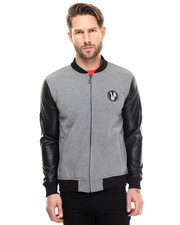 Light Jackets - Contrast Varsity Jacket w/ Logo