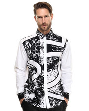 Men - Mirror Print Popline Shirt
