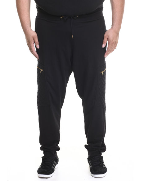 Basic Essentials - Men Black Hood Royalty Quilted Joggers (B&T)