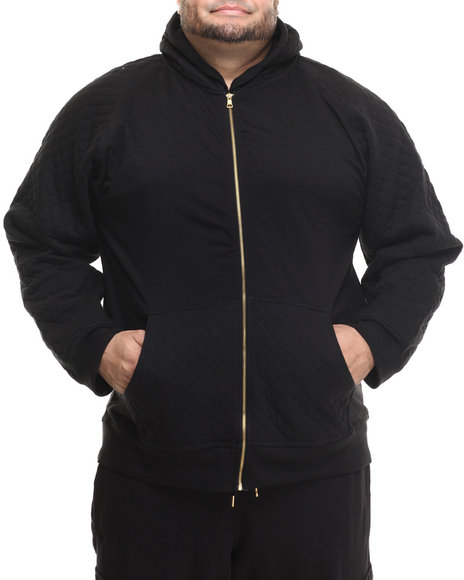 Basic Essentials - Men Black Hood Royalty Quilted Hoodie (B&T)