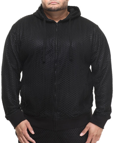 Basic Essentials - Men Black Nothing But Net Large - Mesh Hoodie (B&T)