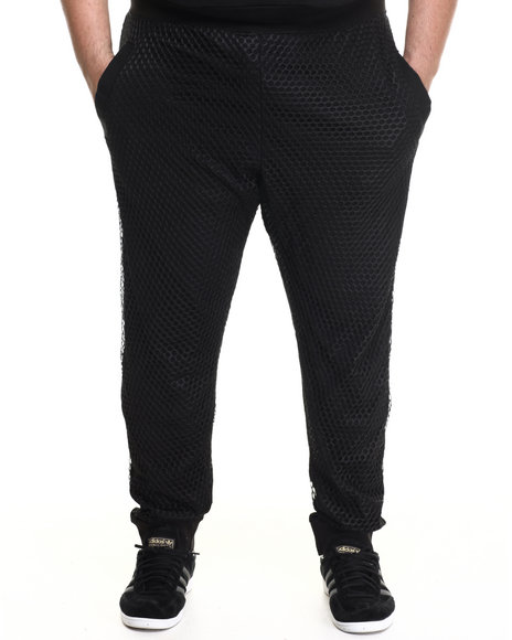 Basic Essentials - Men Black Nothing But Net Large - Mesh Trimmed Joggers (B&T)