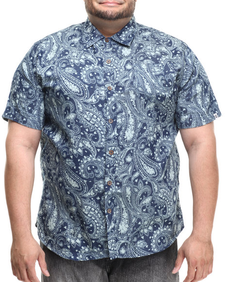 Akademiks - Men Blue Festival Paisley S/S Button Down Shirt (B&T)