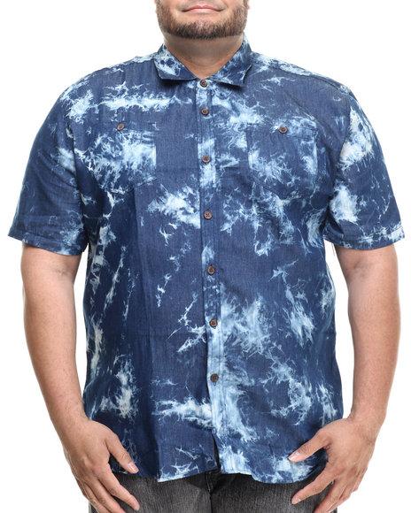 Akademiks - Men Blue Leader Acid Wash S/S Button Down Shirt (B&T)