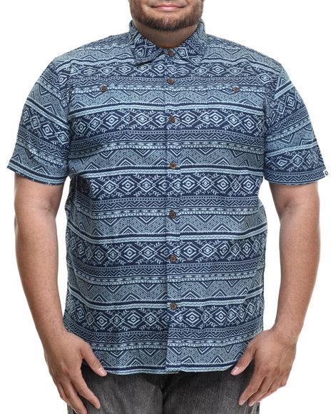 Ur-ID 214239 Akademiks - Men Blue Sculpt Tribal S/S Button Down Shirt (B&T)