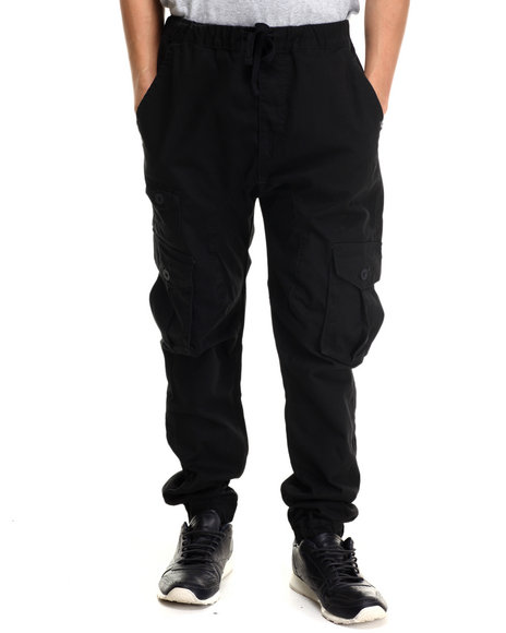 Akademiks - Men Black Nollie Twill Cargo Jogger Pants