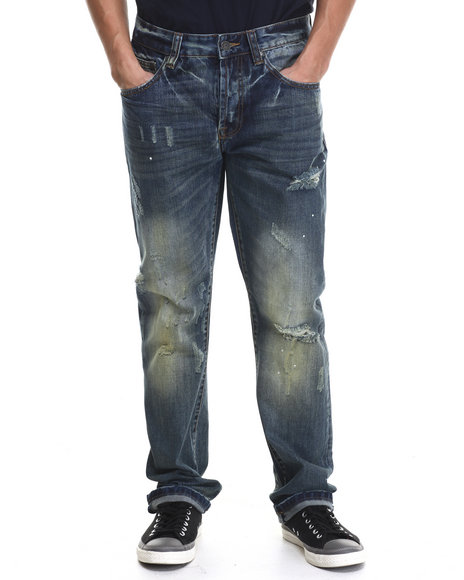 Kilogram - Men Dark Wash Painters Heavy - Wash Denim Jeans