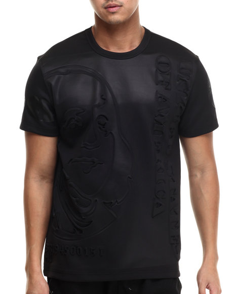 Ur-ID 214276 Hudson NYC - Men Black Stacked Ben Double - Knit Embossed S/S Tee