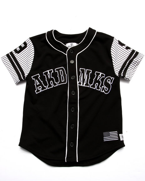 Akademiks - Boys Black Aka Button Up Baseball Tee (8-20) - $40.00
