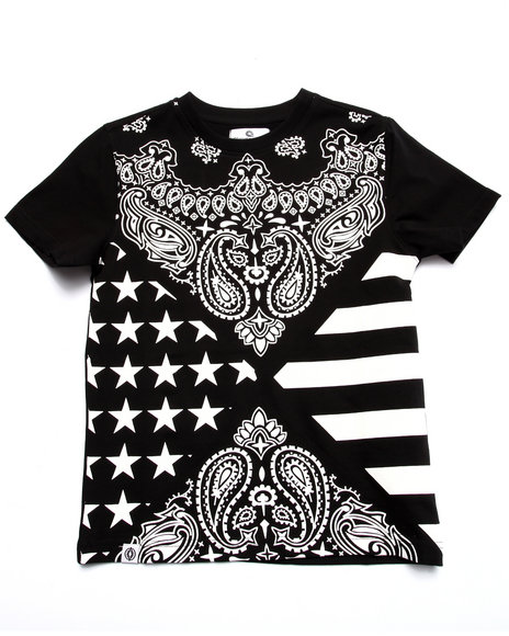 Akademiks - Boys Black Bandana All Over Print Tee (8-20) - $30.00