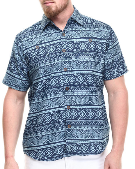 Ur-ID 214300 Akademiks - Men Blue Sculpt Tribal S/S Button Down Shirt