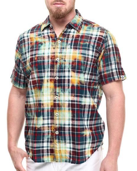 Akademiks - Men Multi Tech Bleach Treated Plaid S/S Button Down Shirt
