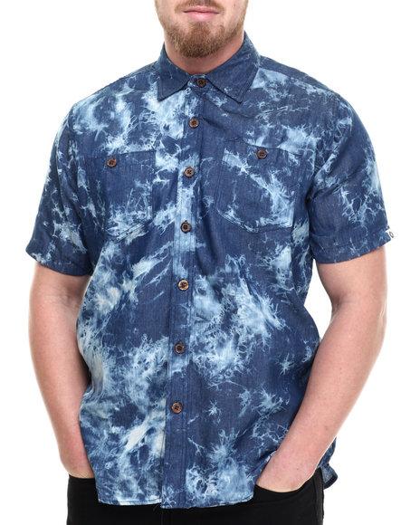 Ur-ID 214303 Akademiks - Men Blue Leader Acid Wash S/S Button Down Shirt