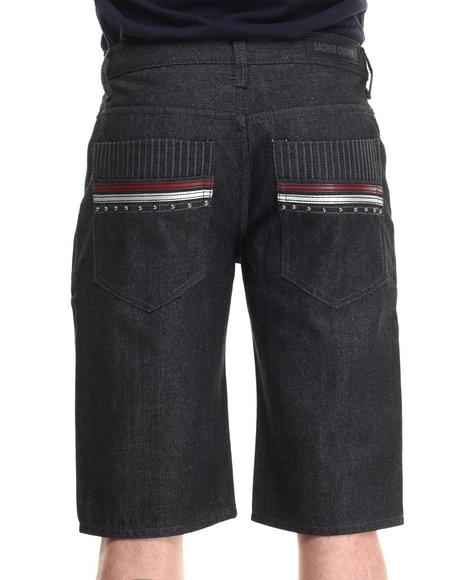 Basic Essentials - Men Black Deco Back - Pocket Denim Shorts - $30.00