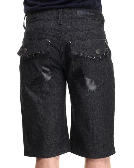 Basic Essentials - Men Black Artsy Back - Pocket Denim Shorts