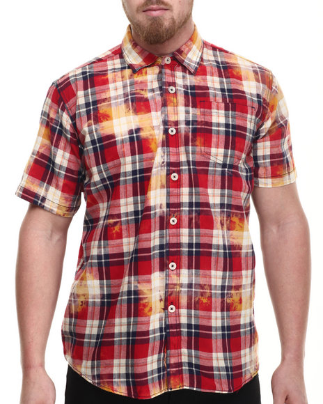 Ur-ID 214310 Akademiks - Men Red Tech Bleach Treated Plaid S/S Button Down Shirt