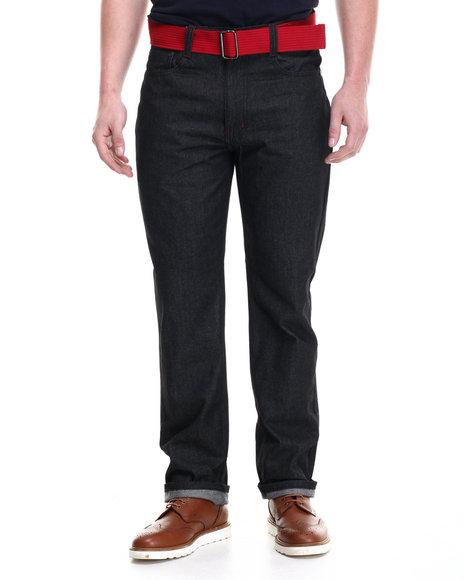Basic Essentials - Men Black Peak Belted Denim Jeans - $30.00