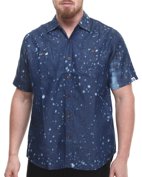 Ur-ID 214314 Akademiks - Men Blue Battle Splatter S/S Button Down Shirt