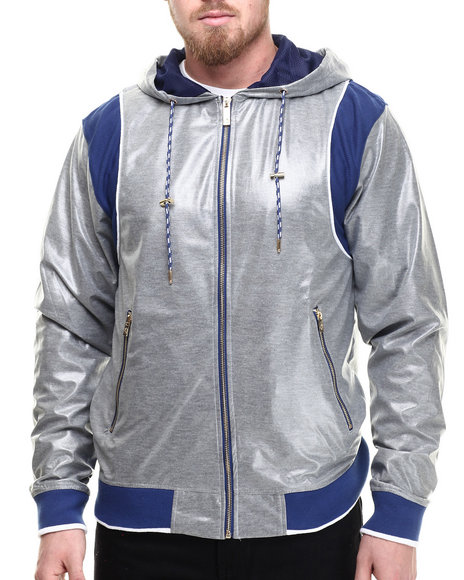 Ur-ID 214317 Akademiks - Men Grey Alford Athletic Full Zip Hoody