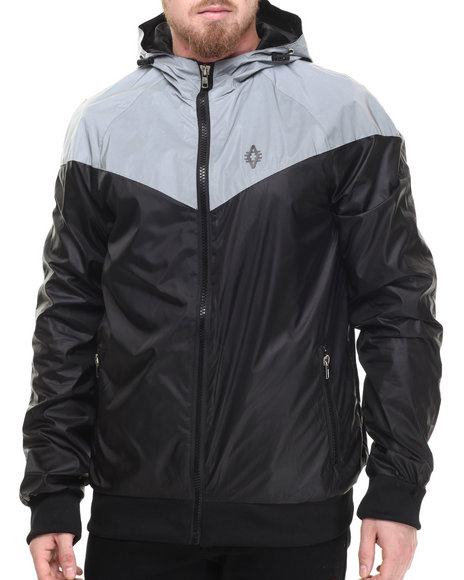 Ur-ID 214318 Akademiks - Men Black Flash Sprinter Reflective Retro Windbreaker Jacket