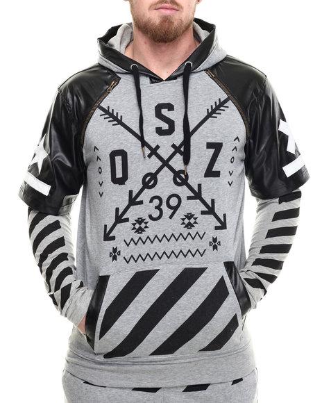 Buyers Picks - Men Grey O S Z Layered Raglan - Sleeve Pullover Hoodie - $78.00