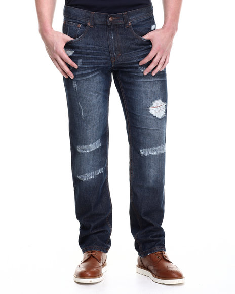 Akademiks - Men Vintage Wash Cohoes Washed Denim Pants