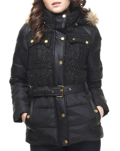 Ur-ID 214243 COOGI - Women Black Tweed & Nylon Belted Puffer Jacket W/ Faux Fur Trim
