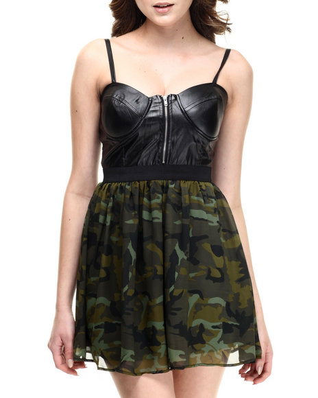Ali & Kris - Women Black,Camo Faux Leather Bustier Chiffon Dress
