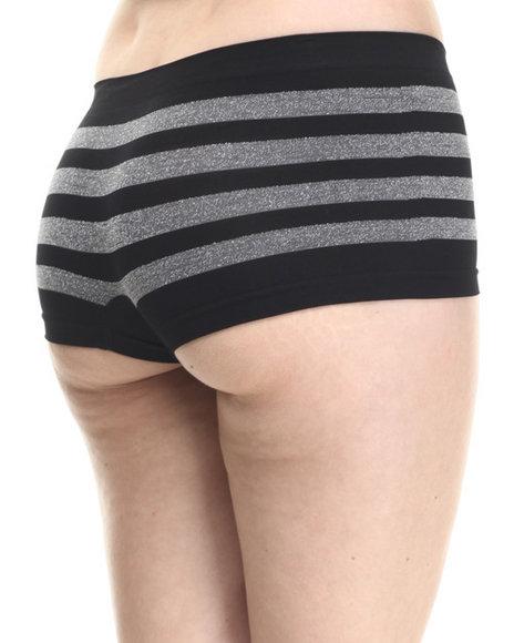 Baby Phat - Women Black Sparkle Stripe Seamless Boy Short