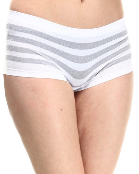 Ur-ID 214397 Baby Phat - Women White Sparkle Stripe Seamless Boy Short